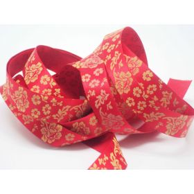 5M x 15mm flower pattern ribbon - gold on red background