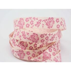 5M x 15mm flower pattern ribbon - baby pink on cream background