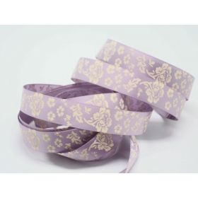 5M x 15mm flower pattern ribbon - cream on lilac background