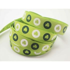 5M x 15mm grosgrain St Patrick's day Shamrock ribbon  - design on lime green background