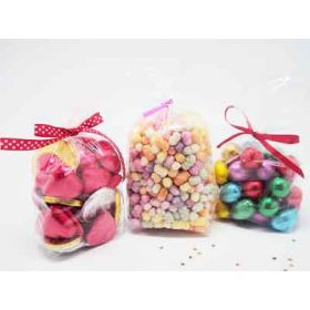 "Pack of 100 Small clear gusseted cellophane sweets / Party / Gift bags (3"" x 1¾"" x 8¼"")"