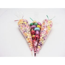 "Pack of 250 Cone shaped cellophane sweets / candy / favour / gift bags (12"" x 6"")"
