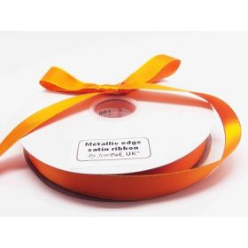 5M x 22mm Gold metallic edge satin ribbon - Tangerine