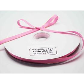 5M x 10mm Gold metallic edge satin ribbon - Hot Pink