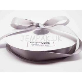 5M x 15mm Silver metallic edge satin ribbon - Silver