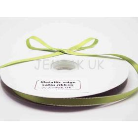 5M x 10mm Silver metallic edge satin ribbon - Apple Green