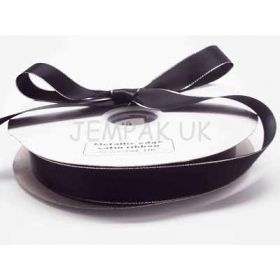 5M x 15mm Silver metallic edge satin ribbon - Black