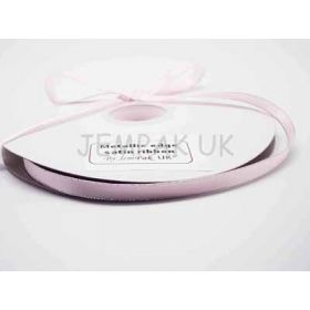 5M x 10mm Silver metallic edge satin ribbon - Baby Pink