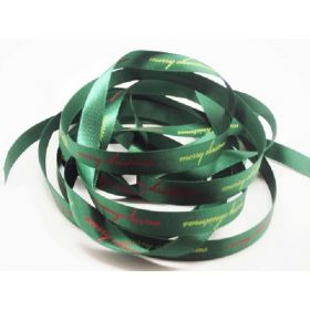 5M x 10mm Satin merry xmas  ribbon - Forest green