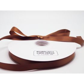 5M x 15mm Double face satin ribbon - Golden Brown