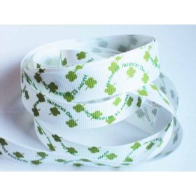 5M x 15mm grosgrain St Patrick's day print ribbon  - design on white background