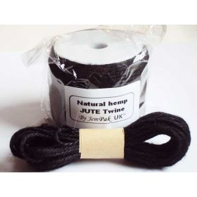 JEMPAK UK 10M x 2mm thick BLACK natural Hemp Jute Twine rope