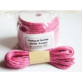 JEMPAK UK 10M x 2mm thick PINK natural Hemp Jute Twine rope