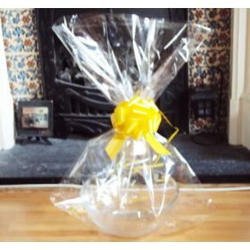 "JEMPAK UK 20"" x 30"" LARGE cellophane basket bags with YELLOW pull bow (Pack of 1)"
