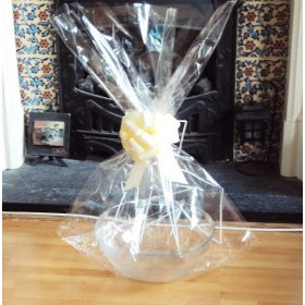 "JEMPAK UK 20"" x 30"" LARGE cellophane basket bags with IVORY pull bow (Pack of 1)"