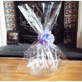 "JEMPAK UK 24"" x 30"" EXTRA LARGE cellophane basket bags with LAVENDER pull bow  (Pack of 1)"