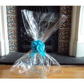 "JEMPAK UK® 24"" x 30"" EXTRA LARGE cellophane basket bags with TURQUOISE BLUE pull bow  (Pack of 1)"