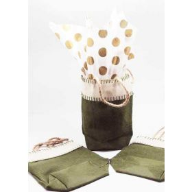 Green leaf Burlap/Hessian tote bag/gift bag with Metallic gold dots printed tissue paper (12cm x 8cm x 23cm)