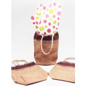 Natural Burlap/Hessian tote bag/gift bag with Festive Xmas dots printed tissue paper (12cm x 8cm x 23cm)
