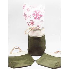Green leaf Burlap/Hessian tote bag/gift bag with xmas snowflasks printed tissue paper (12cm x 8cm x 23cm)
