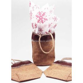 Natural Burlap/Hessian tote bag/gift bag with xmas snowflasks printed tissue paper (12cm x 8cm x 23cm)