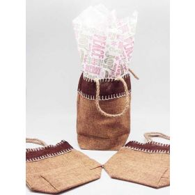 Natural Burlap/Hessian tote bag/gift bag with chalkboard xmas wishes printed tissue paper (12cm x 8cm x 23cm)