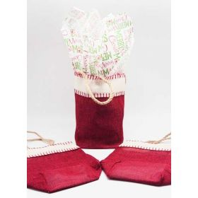 Deep red Burlap/Hessian tote bag/gift bag with Merry Xmas manger printed tissue paper (12cm x 8cm x 23cm)