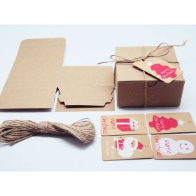 Pack of 10 BROWN KRAFT Gift/favour boxes with hinged lid (10cm x 10cm x 5cm). String & XMAS tags included.