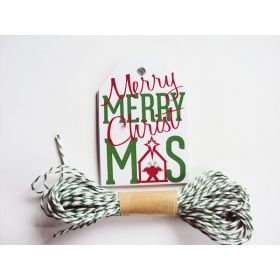Pack of 10 Merry & Bright Tree Metallic Printed Gift Tags with Green Baker's twine - (6cm x 9cm)