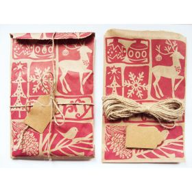 Pack of 10 Woodcut Christmas Paper Merchandise Bags with tags and Jute twine  - 12cm x 17cm