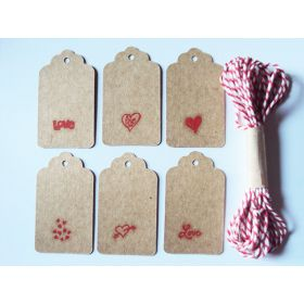 JEMPAK UK® Pack of 10 assorted design Valentine print brown kraft tags with 5M Red Baker's Twine for Packaging/Gift Wrapping/Card-making/General Decoration