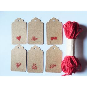 JEMPAK UK® Pack of 10 assorted design Valentine print brown kraft tags with 5M Red JUTE Twine for Packaging/Gift Wrapping/Card-making/General Decoration