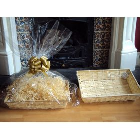 DIY hamper kit containing small Rectangular Bamboo Basket Tray, cellophane basket bag, GOLD pull bow and paper shred