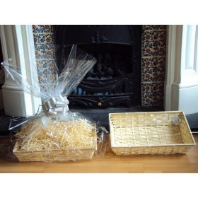 DIY hamper kit containing small Rectangular Bamboo Basket Tray, cellophane basket bag, SILVER pull bow and paper shred