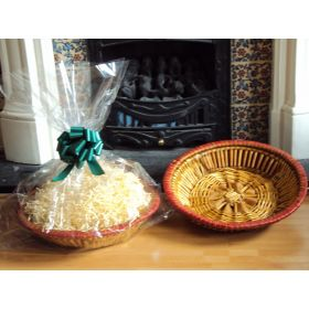 DIY Hamper kit containing Round wicker deli basket tray, cellophane basket bag, GREEN pull bow and paper shred