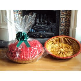 DIY Hamper kit containing Round wicker deli basket tray, cellophane basket bag, GREEN pull bow and Xmas paper shred