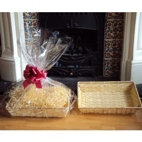 DIY hamper kit containing small Rectangular Bamboo Basket Tray, cellophane basket bag, RED pull bow and paper shred