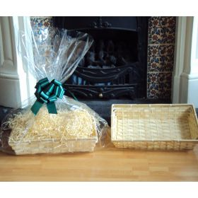 DIY hamper kit containing small Rectangular Bamboo Basket Tray, cellophane basket bag, GREEN pull bow and paper shred