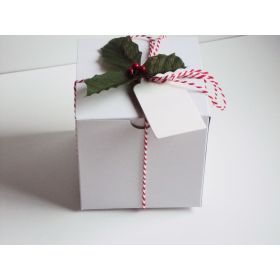 Pack of 10  white high GlossGift/favour boxes with hinged lid (10cm x 10cm x 10cm) with Red bakers twine, gift tags & artificial holly leaves with berries