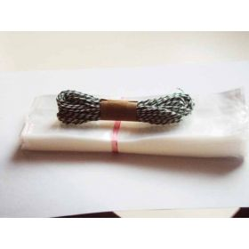 """JEMPAK UK Pack of 50 Mini clear gusseted cellophane bags (2½"""" x 1¼"""" x 7½"""") including 10M Forest green bakers twine"""