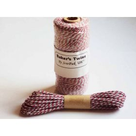 JEMPAK UK 10M x 2mm thick 100% cotton bakers twine  - red & Grey