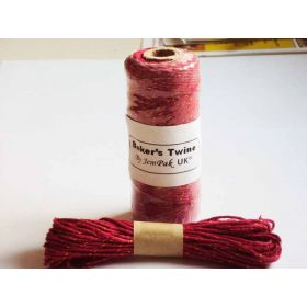 JEMPAK UK 10M x 2mm thick 100% cotton bakers twine  - Red with gold