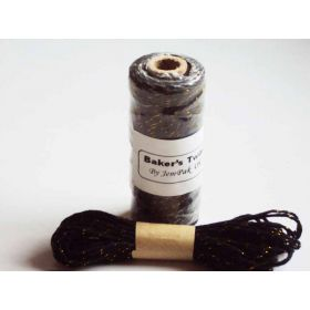 JEMPAK UK 10M x 2mm thick 100% cotton bakers twine  - black with gold