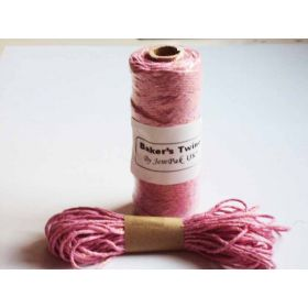 JEMPAK UK 10M x 2mm thick 100% cotton bakers twine pink with gold