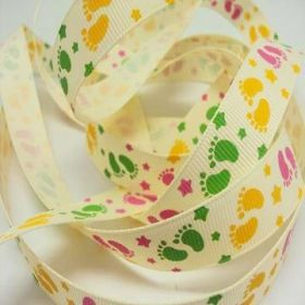 5M x 15mm Grosgrain Baby feet ribbon - Yellow