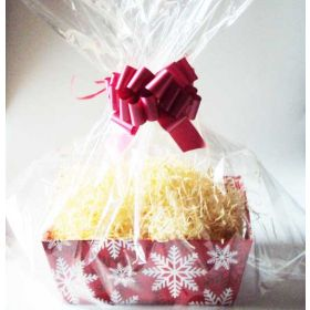"Red White Snowflakes design Large Xmas gift box/hamper making kit (consisting of 30cm length x 24cm width x 11cm deep gift box, 24"" x 30"" cellophane basket bag,  paper shred & RED pull bow)"