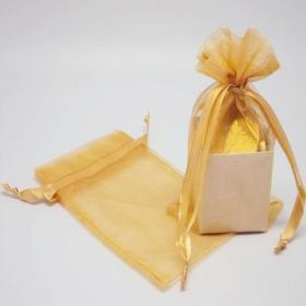 "Pack of 10 Gold organza bags with satin drawstring cord (4"" x 6"")"