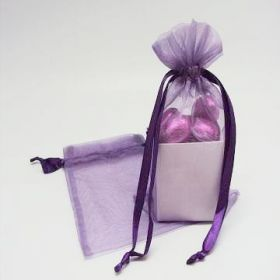 "Pack of 10 Purple organza bags with satin drawstring cord (4"" x 6"")"