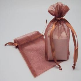 "Pack of 10 Copper organza bags with satin drawstring cord (4"" x 6"")"