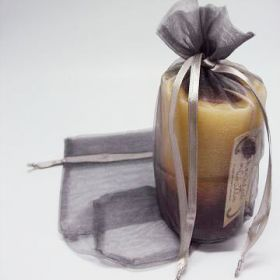 "Pack of 10 Silver organza pouches with satin drawstring (6.5""x4""x7"")"